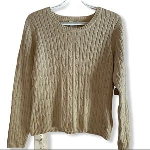 St. John's Bay tan Cable Knit Sweater Sz M